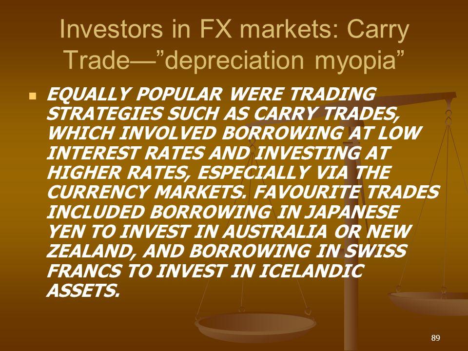 Investors in FX markets: Carry Trade— depreciation myopia