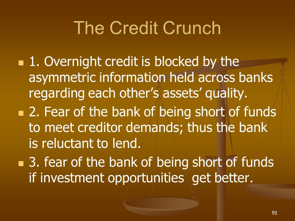 The Credit Crunch 1. Overnight credit is blocked by the asymmetric information held across banks regarding each other's assets' quality.