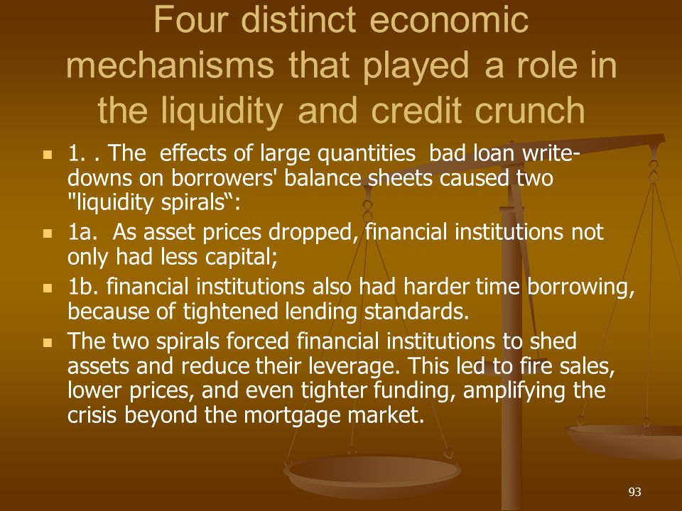 Four distinct economic mechanisms that played a role in the liquidity and credit crunch