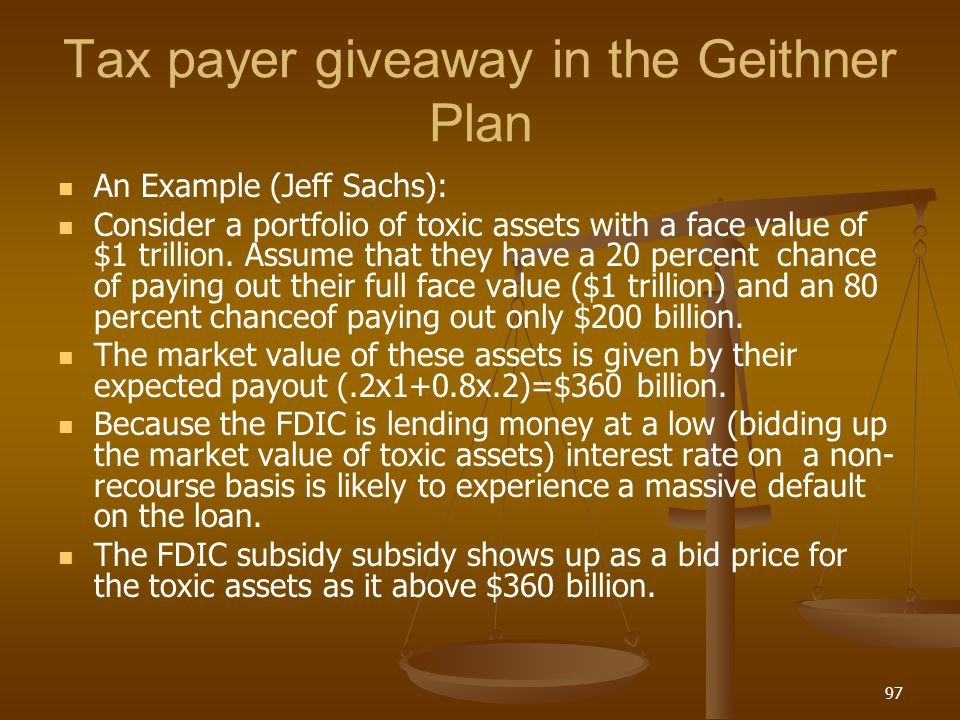 Tax payer giveaway in the Geithner Plan