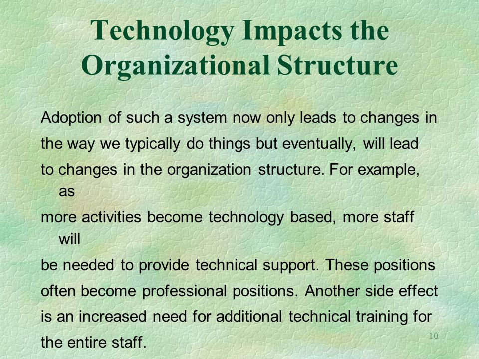 Technology Impacts the Organizational Structure