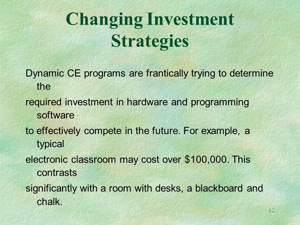 Changing Investment Strategies