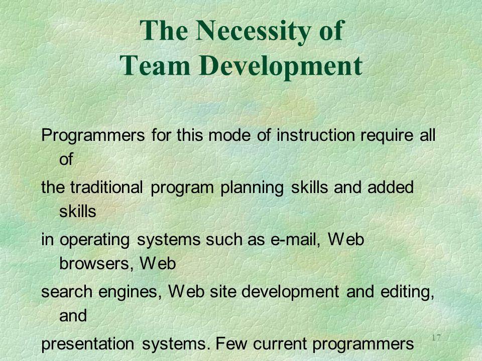 The Necessity of Team Development
