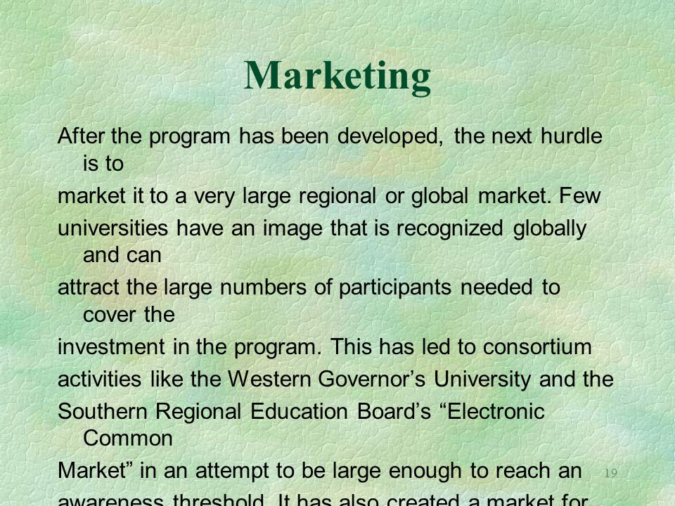 Marketing After the program has been developed, the next hurdle is to