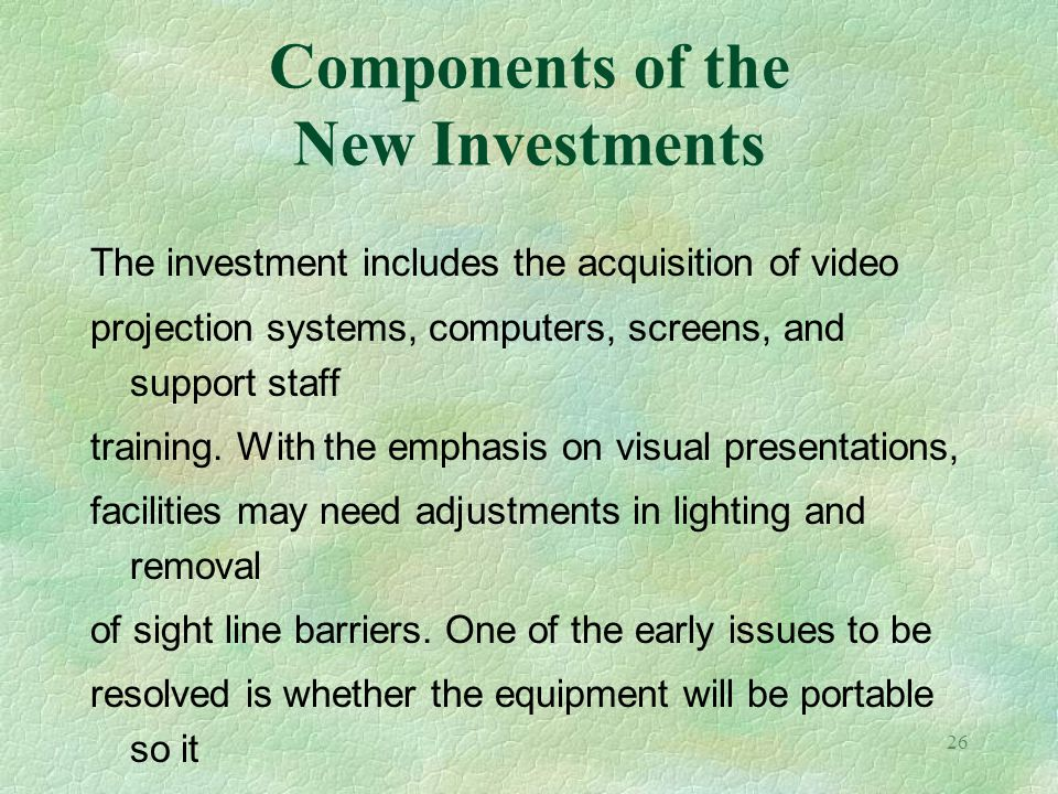 Components of the New Investments