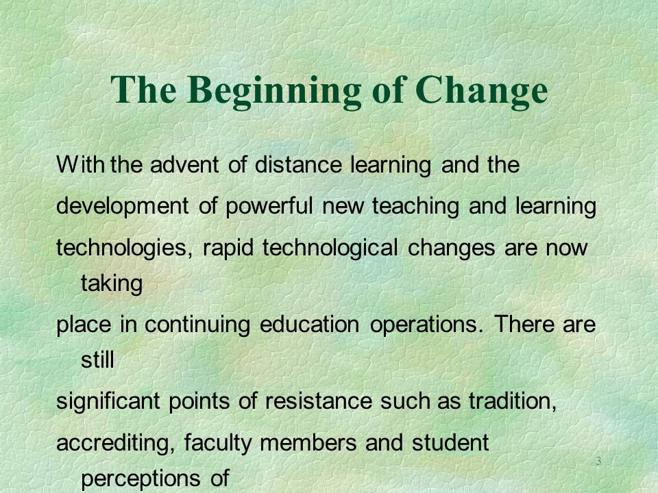 The Beginning of Change