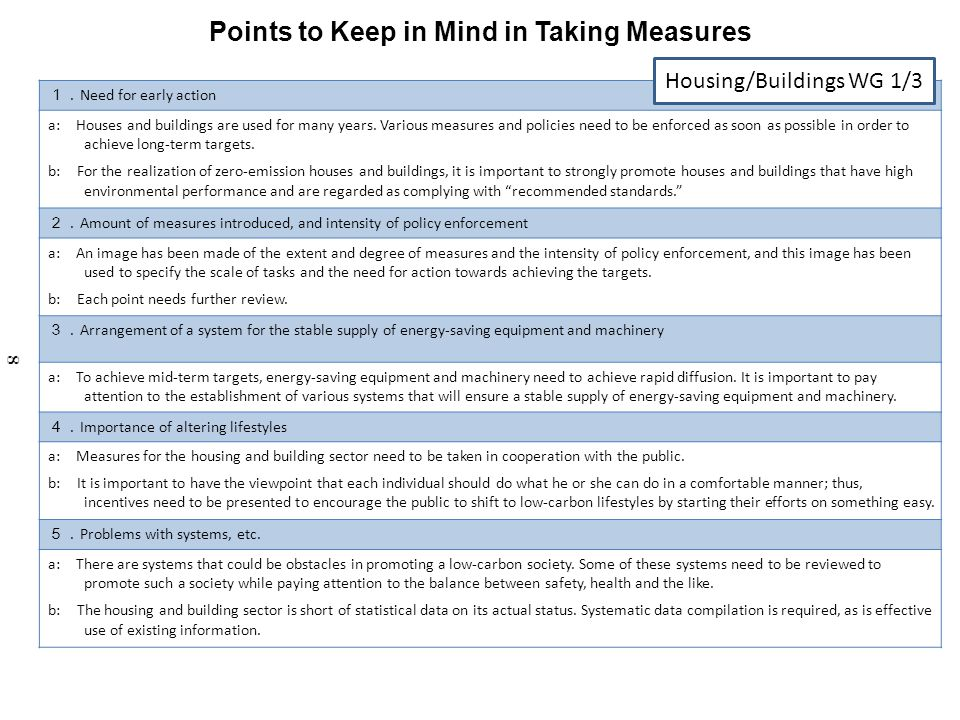 Points to Keep in Mind in Taking Measures