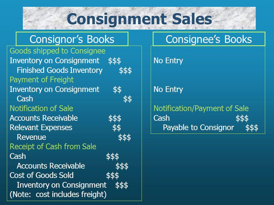 Consignment Sales Consignor's Books Consignee's Books