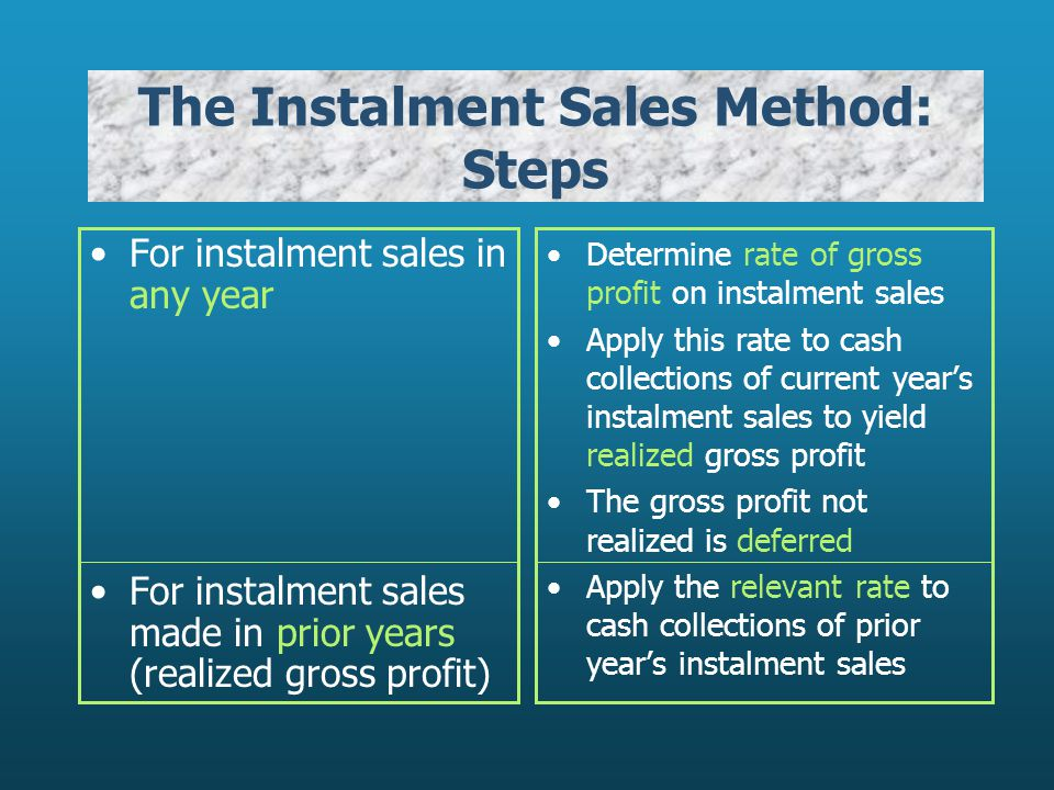The Instalment Sales Method: Steps