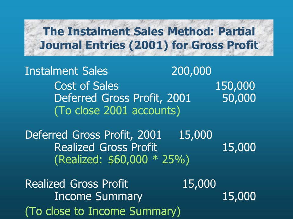 The Instalment Sales Method: Partial Journal Entries (2001) for Gross Profit