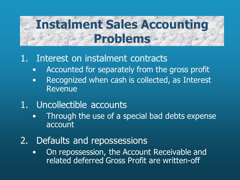 Instalment Sales Accounting Problems