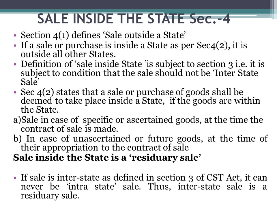SALE INSIDE THE STATE Sec.-4