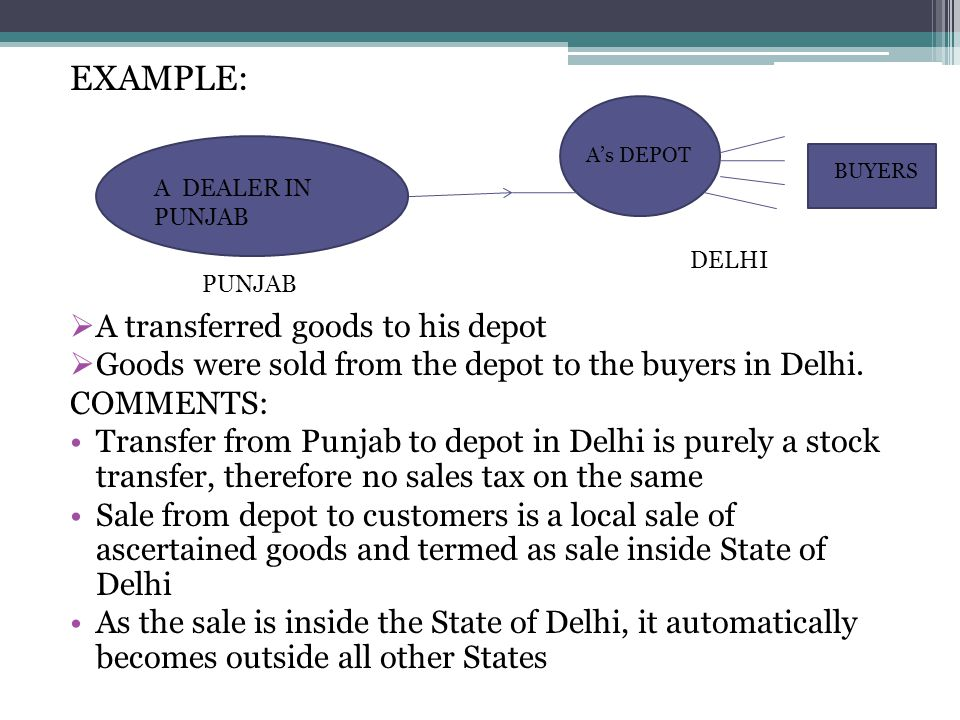EXAMPLE: A transferred goods to his depot