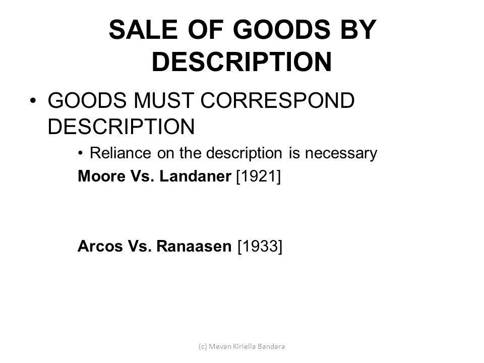 SALE OF GOODS BY DESCRIPTION