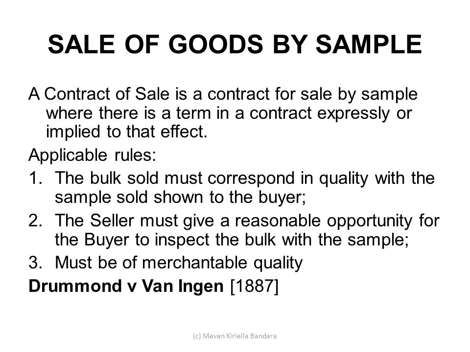 Mevan Kiriella Bandara ppt download – Sample Sale of Goods Contract