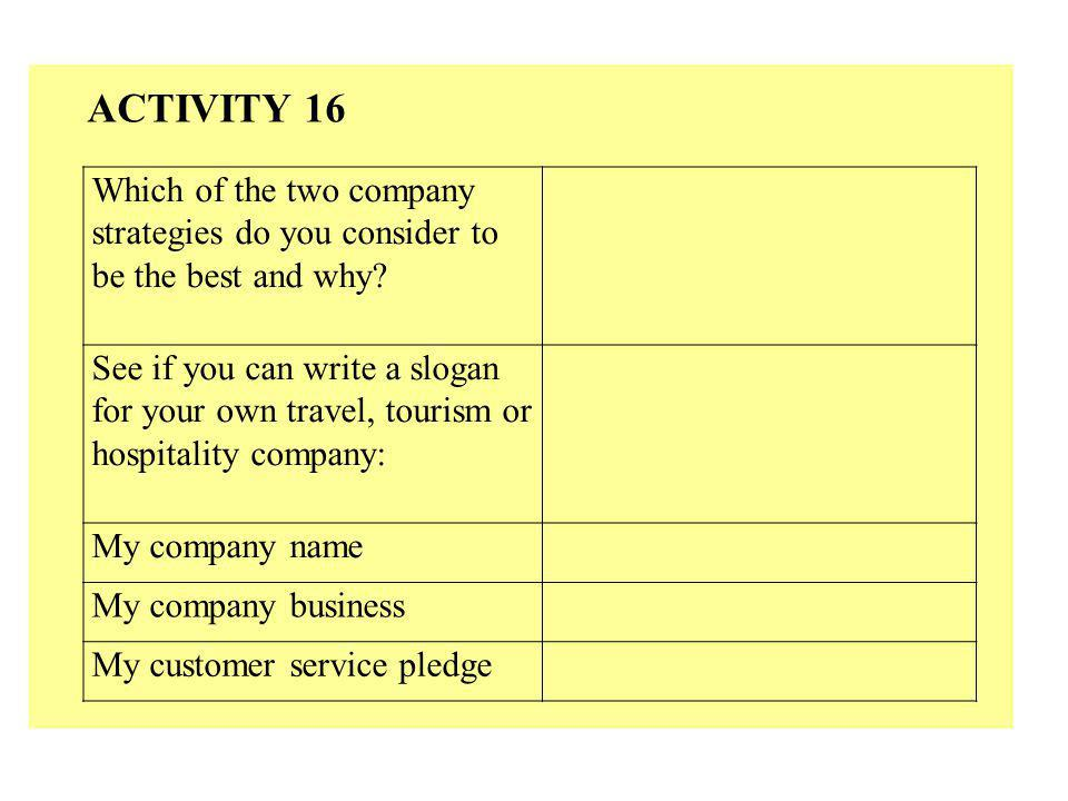 ACTIVITY 16 Which of the two company strategies do you consider to be the best and why