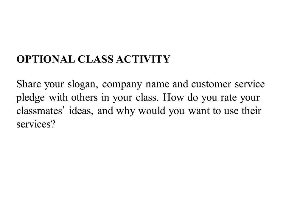OPTIONAL CLASS ACTIVITY