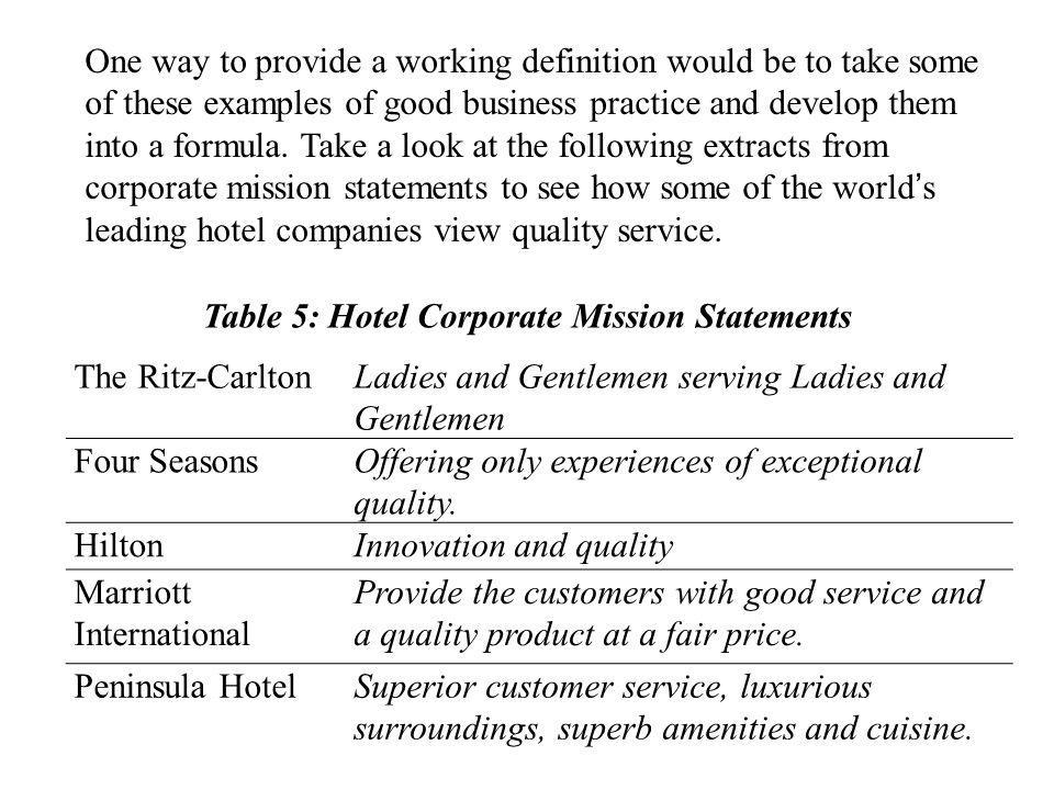 Table 5: Hotel Corporate Mission Statements