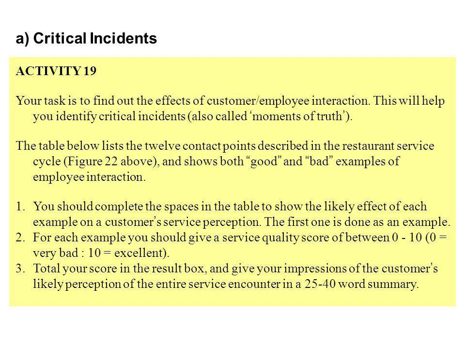Critical Incidents ACTIVITY 19