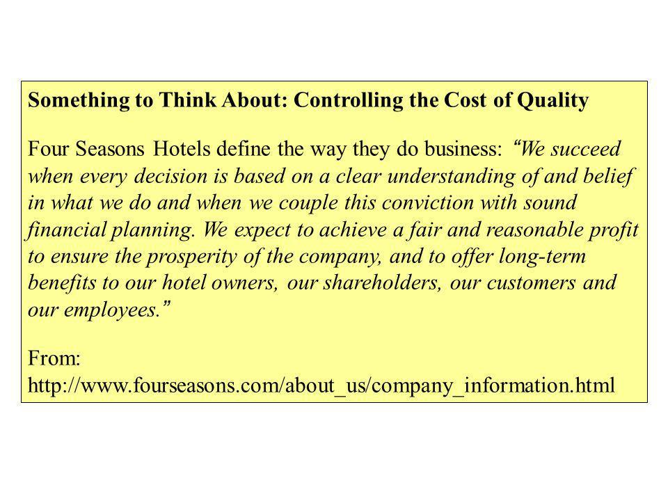 Something to Think About: Controlling the Cost of Quality