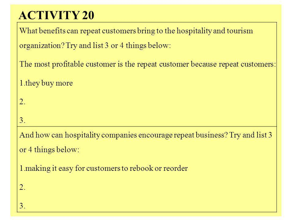 ACTIVITY 20 What benefits can repeat customers bring to the hospitality and tourism organization Try and list 3 or 4 things below: