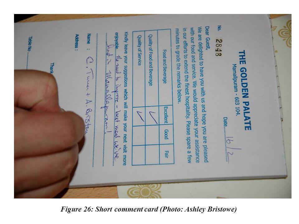 Figure 26: Short comment card (Photo: Ashley Bristowe)