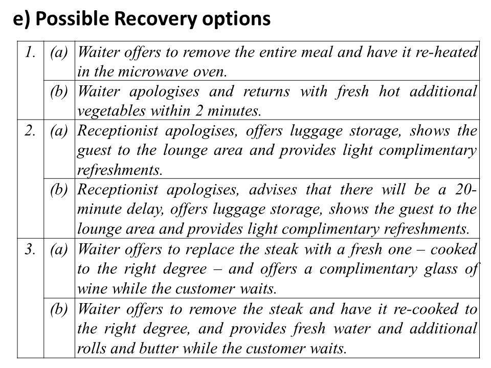 e) Possible Recovery options