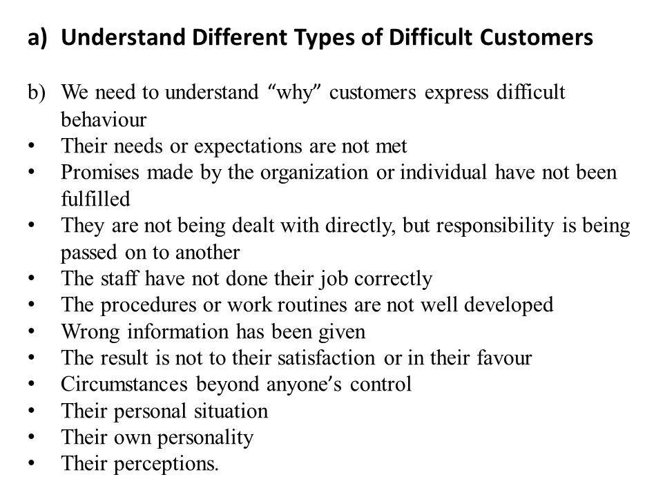 Understand Different Types of Difficult Customers