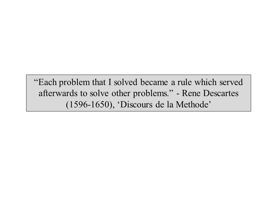 Each problem that I solved became a rule which served afterwards to solve other problems. - Rene Descartes (1596-1650), 'Discours de la Methode'