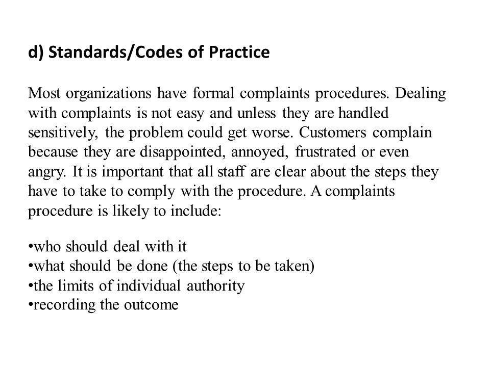 d) Standards/Codes of Practice