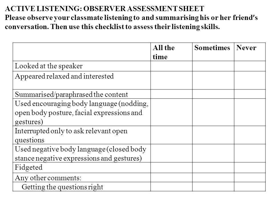ACTIVE LISTENING: OBSERVER ASSESSMENT SHEET