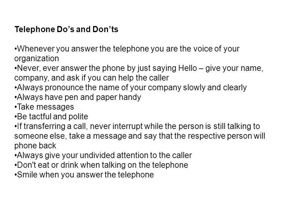 Telephone Do's and Don'ts