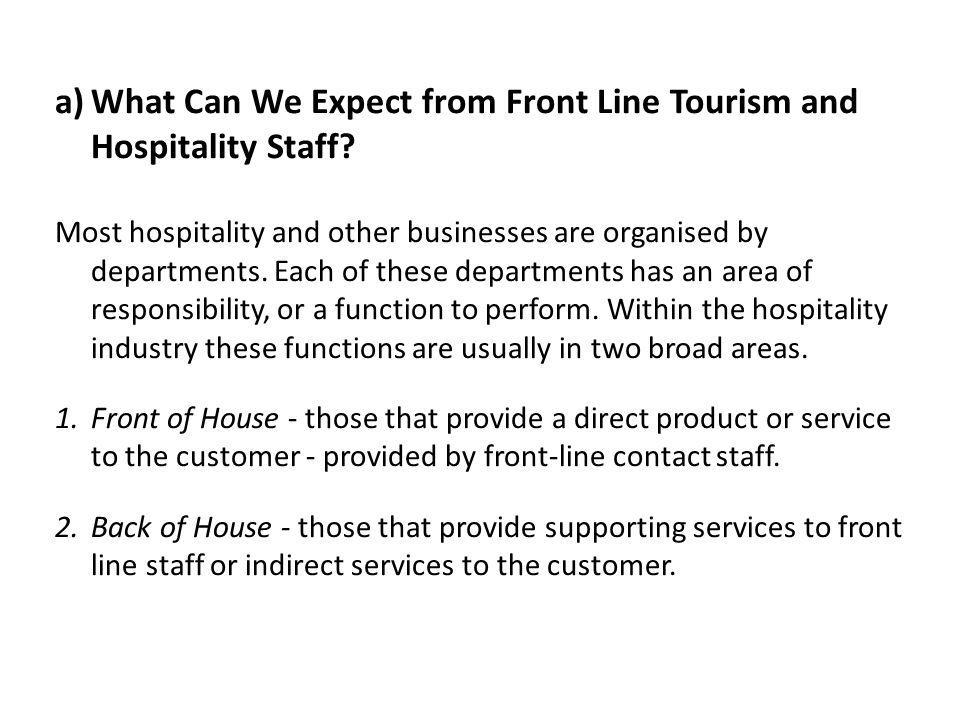 What Can We Expect from Front Line Tourism and Hospitality Staff