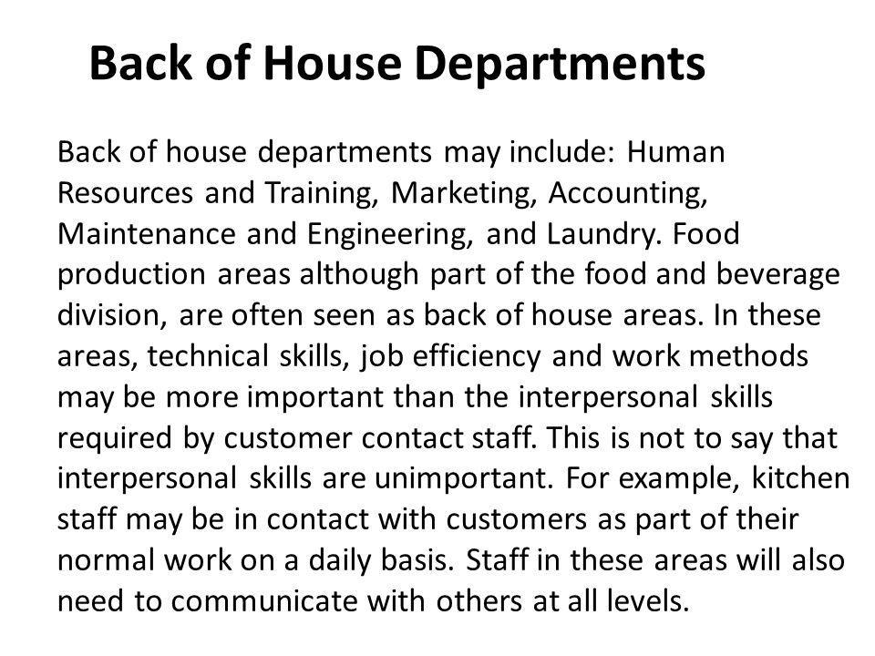 Back of House Departments