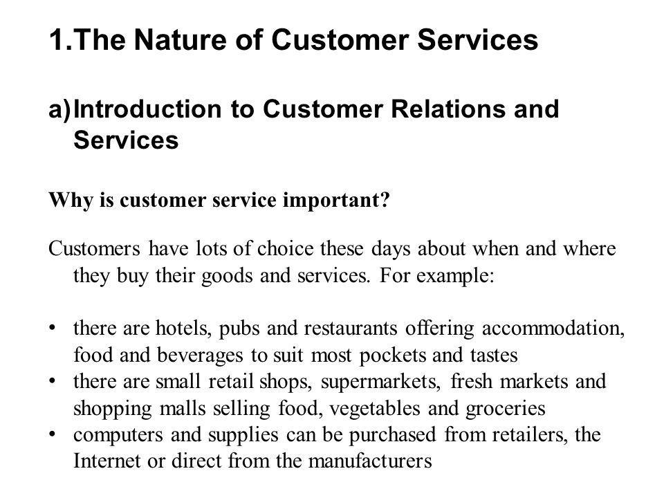 The Nature of Customer Services