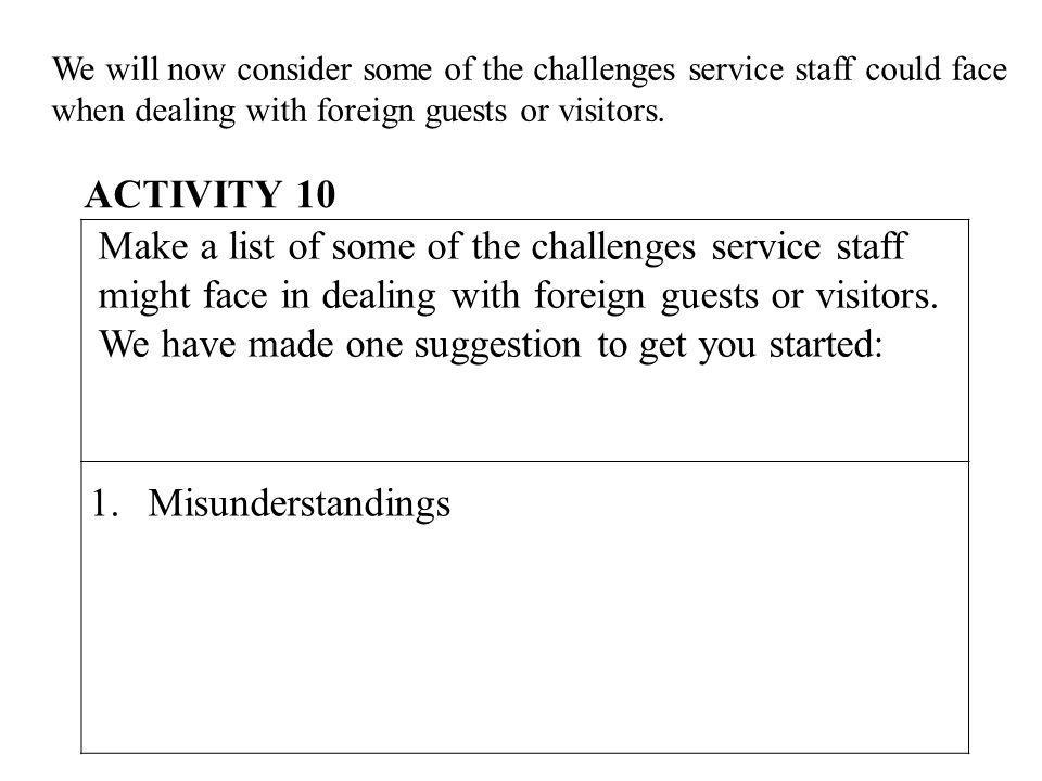 We will now consider some of the challenges service staff could face when dealing with foreign guests or visitors.