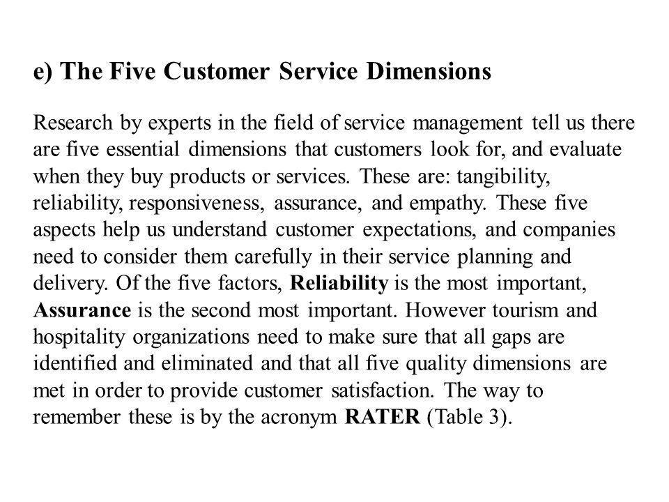 e) The Five Customer Service Dimensions
