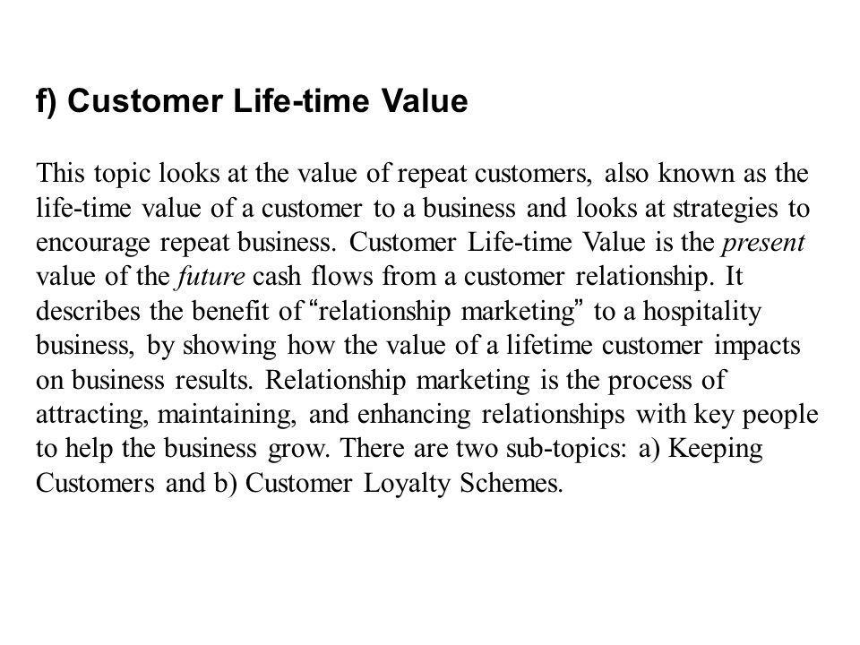 f) Customer Life-time Value