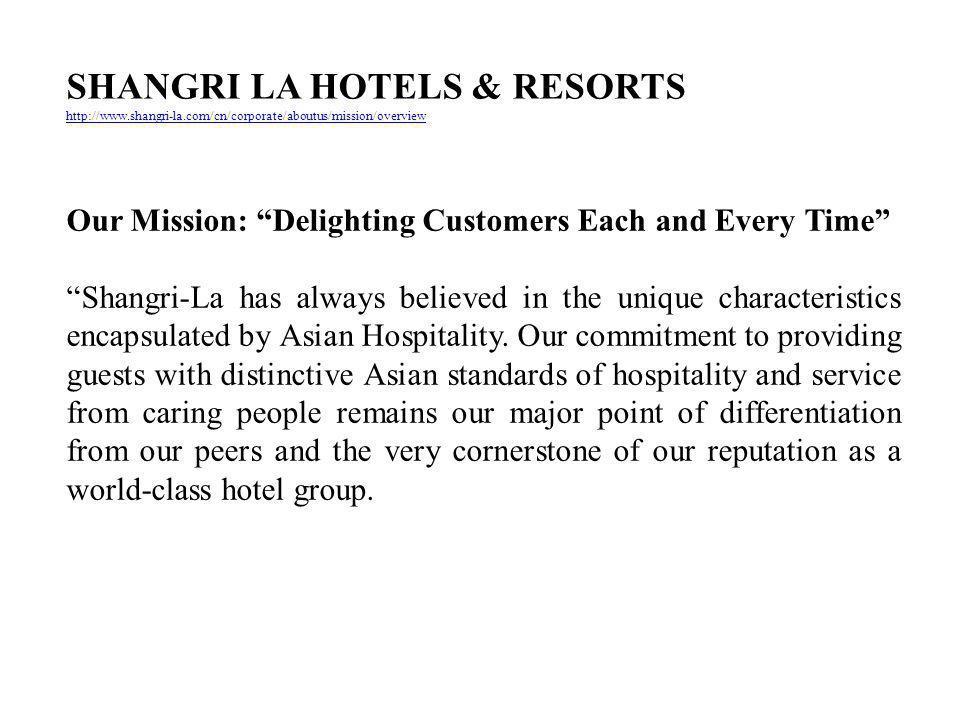 SHANGRI LA HOTELS & RESORTS
