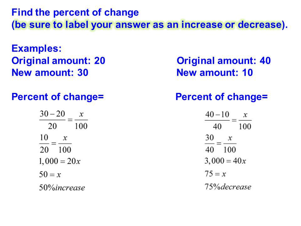 Find the percent of change