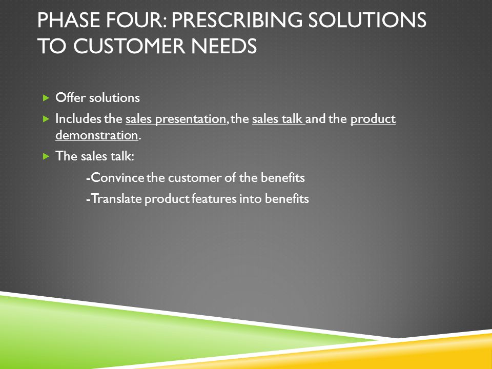 Phase Four: Prescribing solutions to customer needs