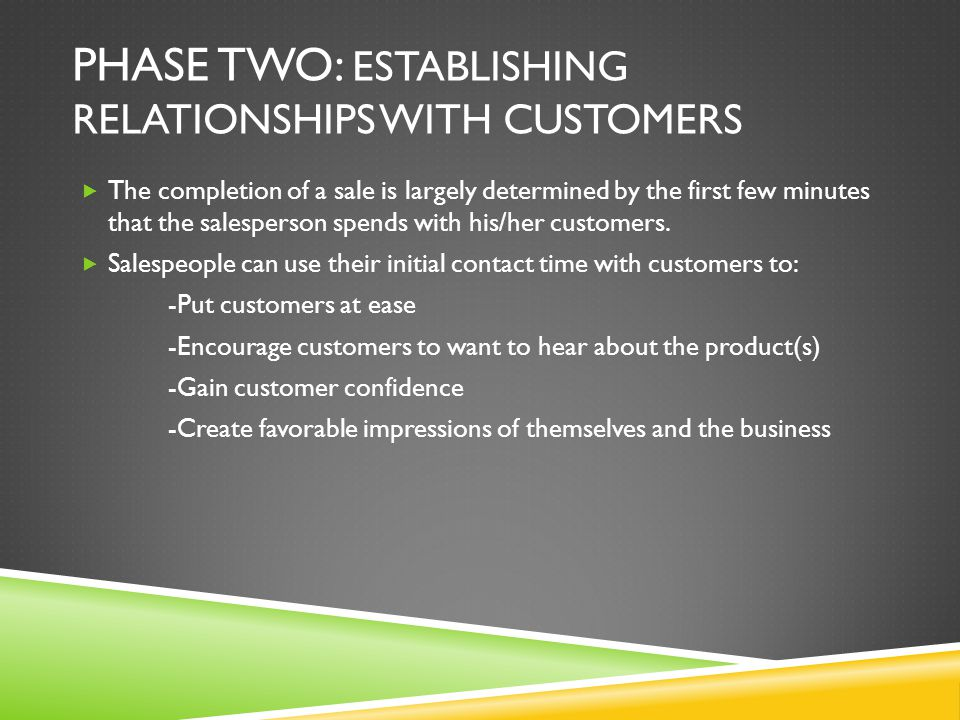 Phase Two: Establishing Relationships with Customers