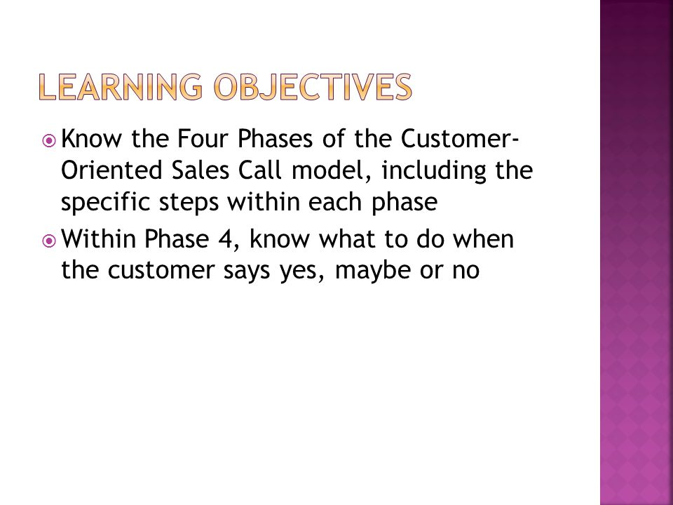 Learning Objectives Know the Four Phases of the Customer- Oriented Sales Call model, including the specific steps within each phase.