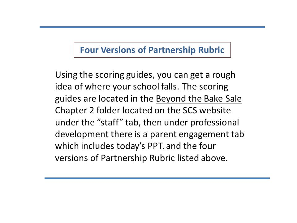 Four Versions of Partnership Rubric