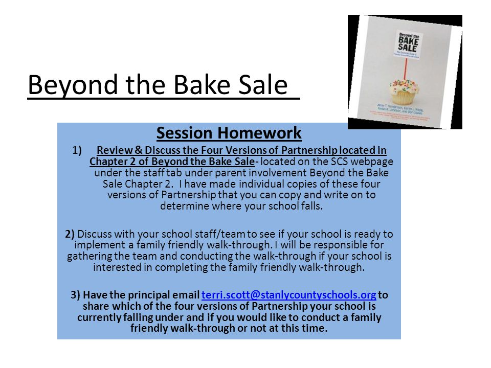 Beyond the Bake Sale‖ Session Homework