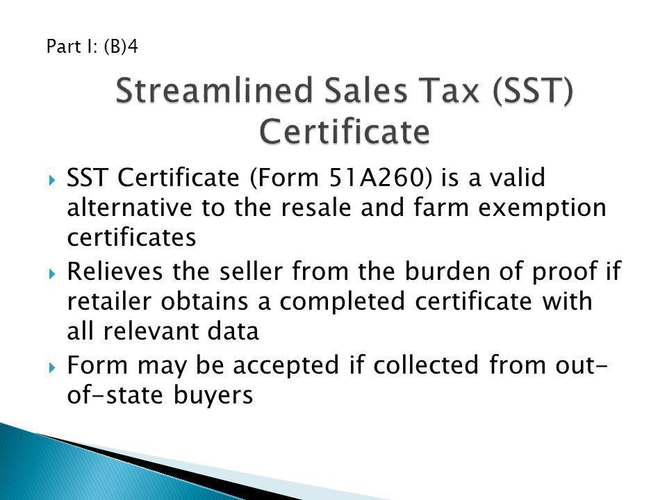 Streamlined Sales Tax (SST) Certificate