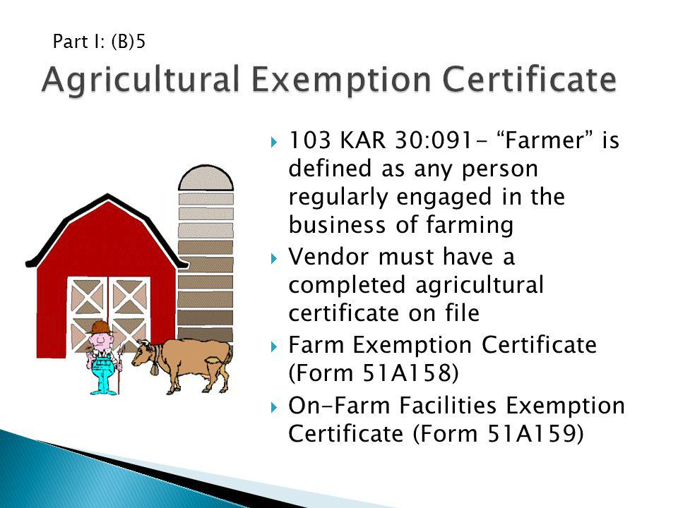 Agricultural Exemption Certificate