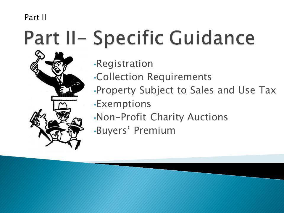 Part II- Specific Guidance