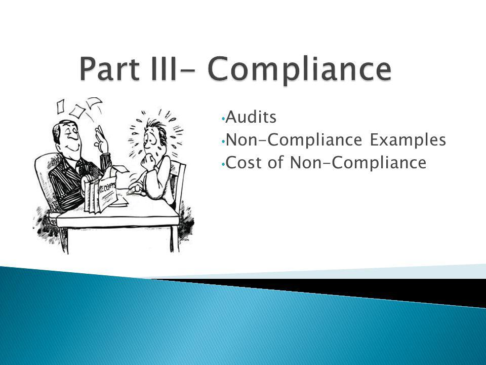 Audits Non-Compliance Examples Cost of Non-Compliance