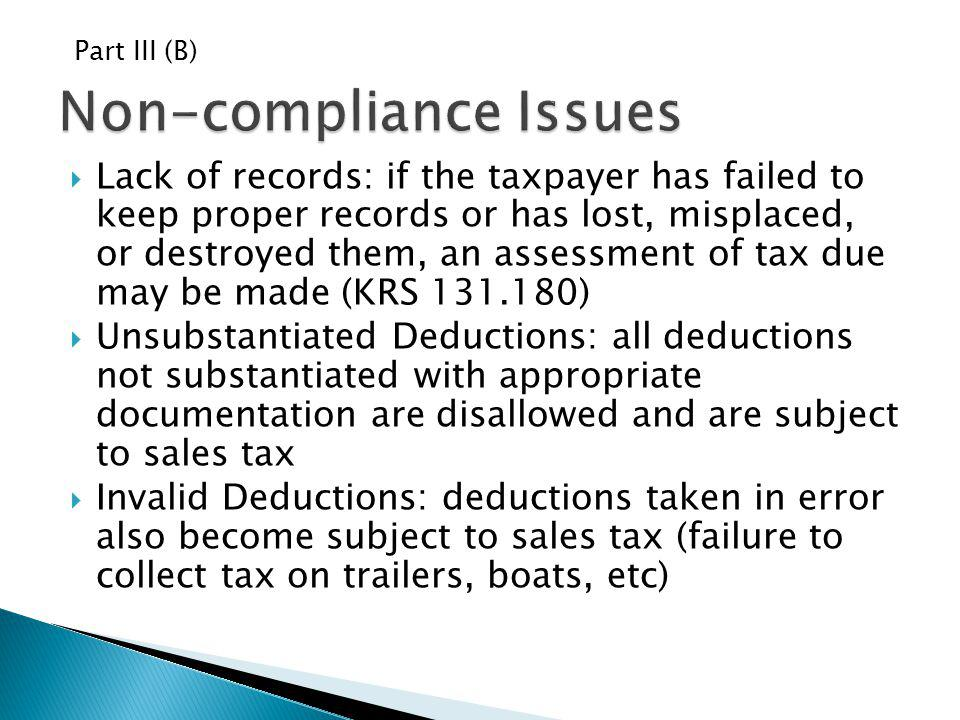 Non-compliance Issues